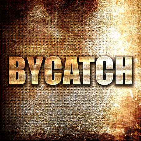 overfishing: bycatch, 3D rendering, metal text on rust background Stock Photo