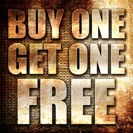 buy one: buy one get one free, 3D rendering, metal text on rust background