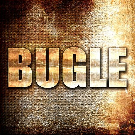 bugle: bugle, 3D rendering, metal text on rust background Stock Photo