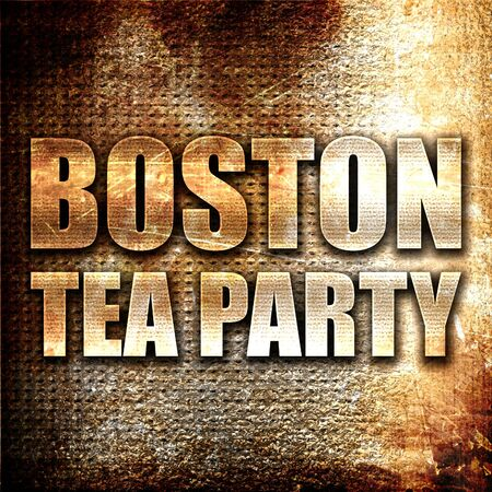 boston tea party: boston tea party, 3D rendering, metal text on rust background