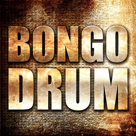 bongo drum: bongo drum, 3D rendering, metal text on rust background