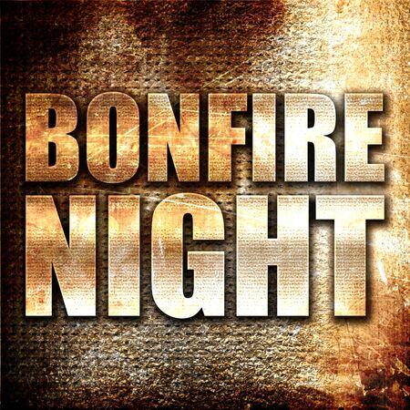 bonfire night: bonfire night, 3D rendering, metal text on rust background