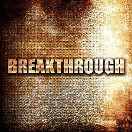 breakthrough: breakthrough, 3D rendering, metal text on rust background Stock Photo