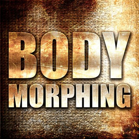 morphing: body morphing, 3D rendering, metal text on rust background