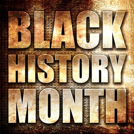 letras negras: mes de la historia negro, 3D, texto del metal en fondo del moho Foto de archivo
