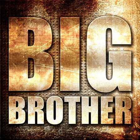 big brother: big brother, 3D rendering, metal text on rust background