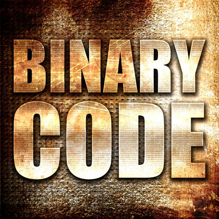 cryptogram: binary code, 3D rendering, metal text on rust background