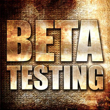 beta: beta testing, 3D rendering, metal text on rust background