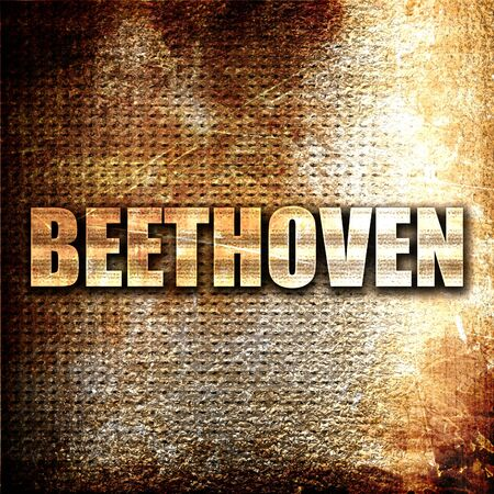 beethoven: beethoven, 3D rendering, metal text on rust background