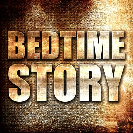 bedtime story: bedtime story, 3D rendering, metal text on rust background