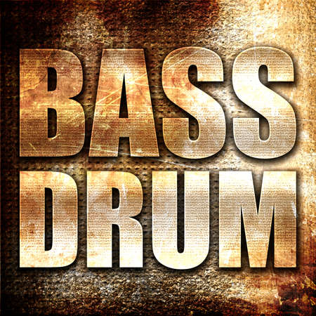 bass drum: bass drum, 3D rendering, metal text on rust background