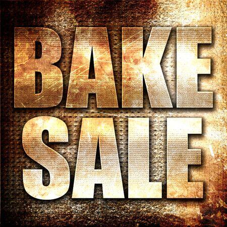 bake sale: bake sale, 3D rendering, metal text on rust background