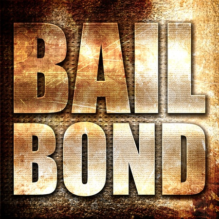bail: bailbond, 3D rendering, metal text on rust background