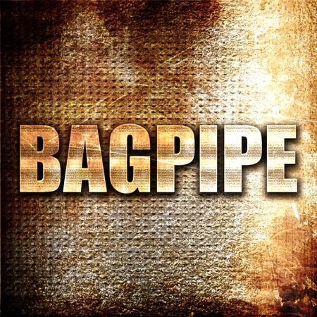 bagpipe: bagpipe, 3D rendering, metal text on rust background