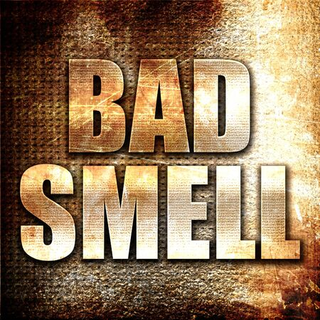 hyperhidrosis: bad smell, 3D rendering, metal text on rust background