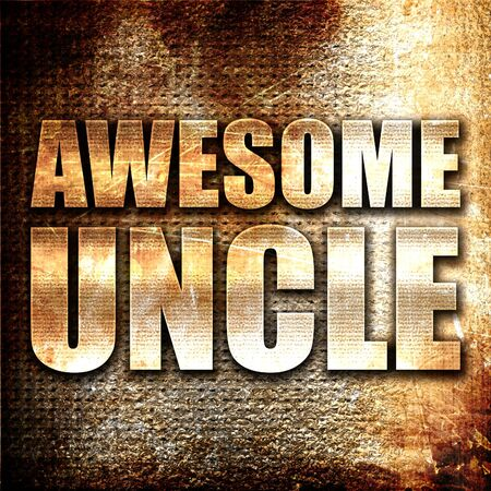 liking: awesome uncle, 3D rendering, metal text on rust background Stock Photo