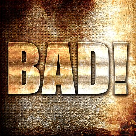 bad breath: bad, 3D rendering, metal text on rust background
