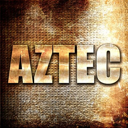 conquered: aztec, 3D rendering, metal text on rust background