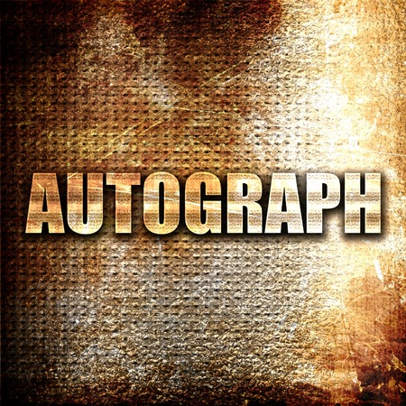 autograph: autograph, 3D rendering, metal text on rust background