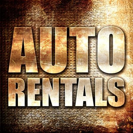 rentals: auto rentals, 3D rendering, metal text on rust background