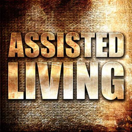 assisted living: assisted living, 3D rendering, metal text on rust background