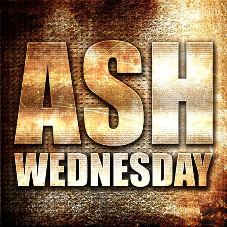 jesus word: ash wednesday, 3D rendering, metal text on rust background