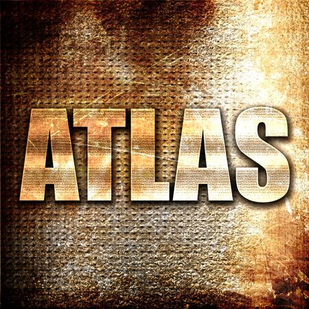 atlas: atlas, 3D rendering, metal text on rust background