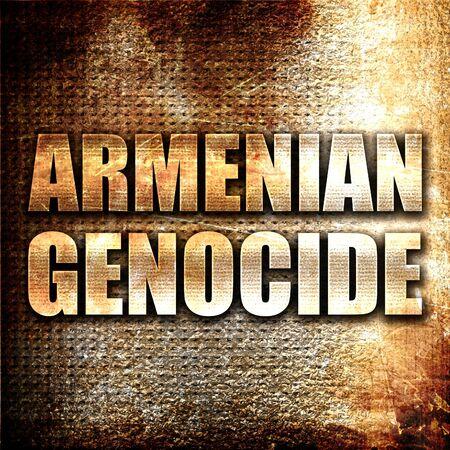 genocide: armenian genocide, 3D rendering, metal text on rust background