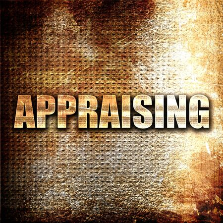 appraising: appraising, 3D rendering, metal text on rust background