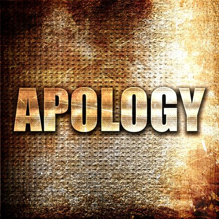 solicit: apology, 3D rendering, metal text on rust background