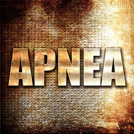 apnea: apnea, 3D rendering, metal text on rust background