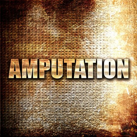 amputation: amputation, 3D rendering, metal text on rust background Stock Photo