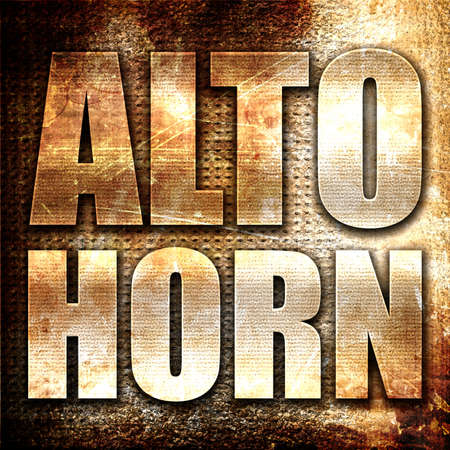 alto: alto horn, 3D rendering, metal text on rust background