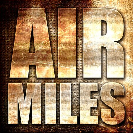 miles: air miles, 3D rendering, metal text on rust background Stock Photo