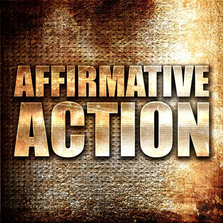favoring: affirmative action, 3D rendering, metal text on rust background