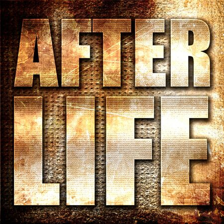 hereafter: afterlife, 3D rendering, metal text on rust background