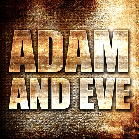 drover: adam and eve, 3D rendering, metal text on rust background