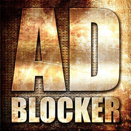 bloqueador de anuncios, 3D, texto del metal en fondo del moho