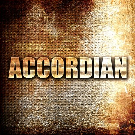 concertina: accordian, 3D rendering, metal text on rust background