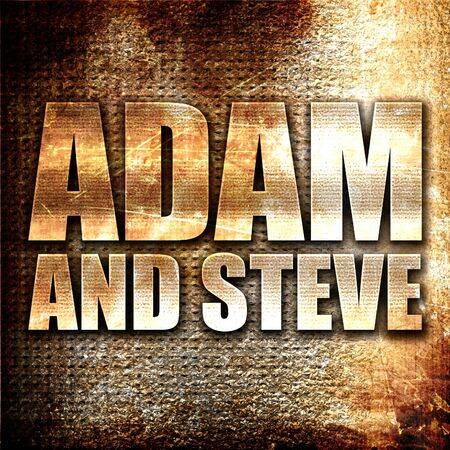 adam eve: adam and steve, 3D rendering, metal text on rust background