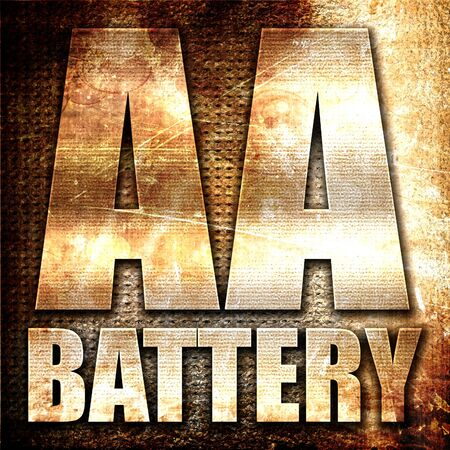 aa: aa battery, 3D rendering, metal text on rust background