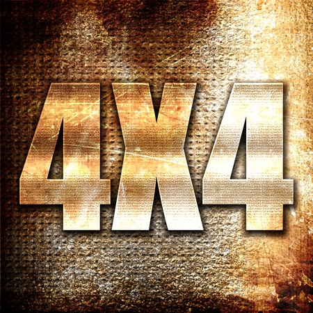 4x4: 4x4, 3D rendering, metal text on rust background