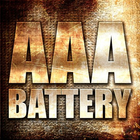 aaa: aaa battery, 3D rendering, metal text on rust background
