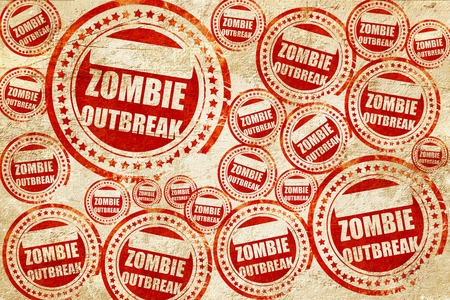 quarantine: zombie virus concept background with some soft smooth lines, red stamp on a grunge paper texture