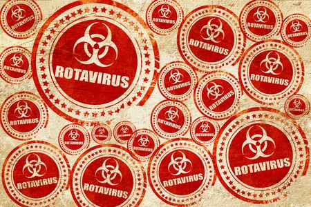 quarantine: rotavirus concept background with some soft smooth lines, red stamp on a grunge paper texture