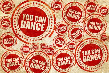 drink me: you can dance, red stamp on a grunge paper texture