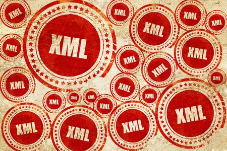 xml: xml, red stamp on a grunge paper texture Stock Photo