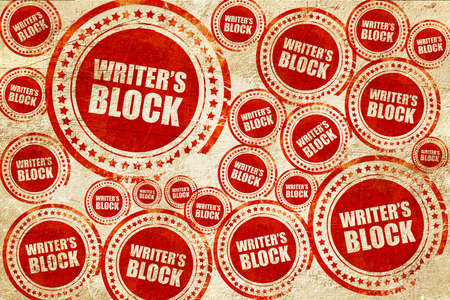 writer's block: writers block, red stamp on a grunge paper texture Stock Photo