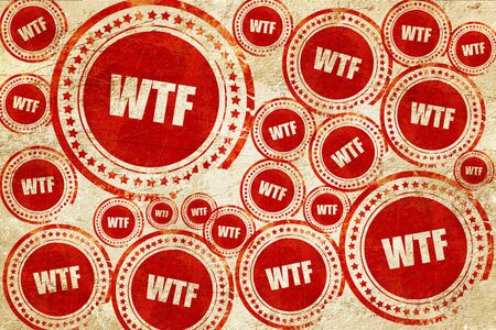 wtf: wtf internet slang with some soft smooth lines, red stamp on a grunge paper texture Stock Photo