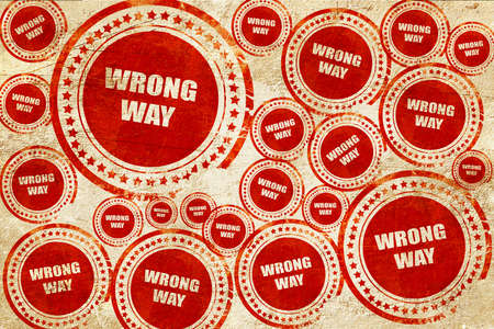 wrong way: wrong way, red stamp on a grunge paper texture